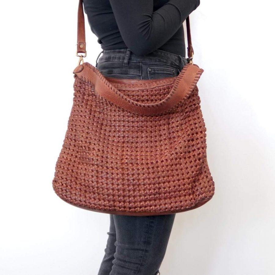 Anais Hobo woven leather bag in Tan