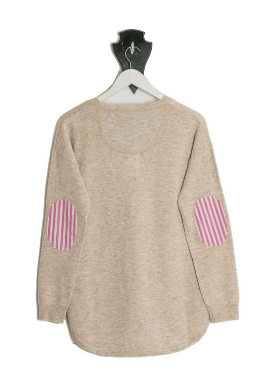 Bow and Arrow Merino and Cashmere Swing Jumper in Almond with pink stripe albow patches on hanger