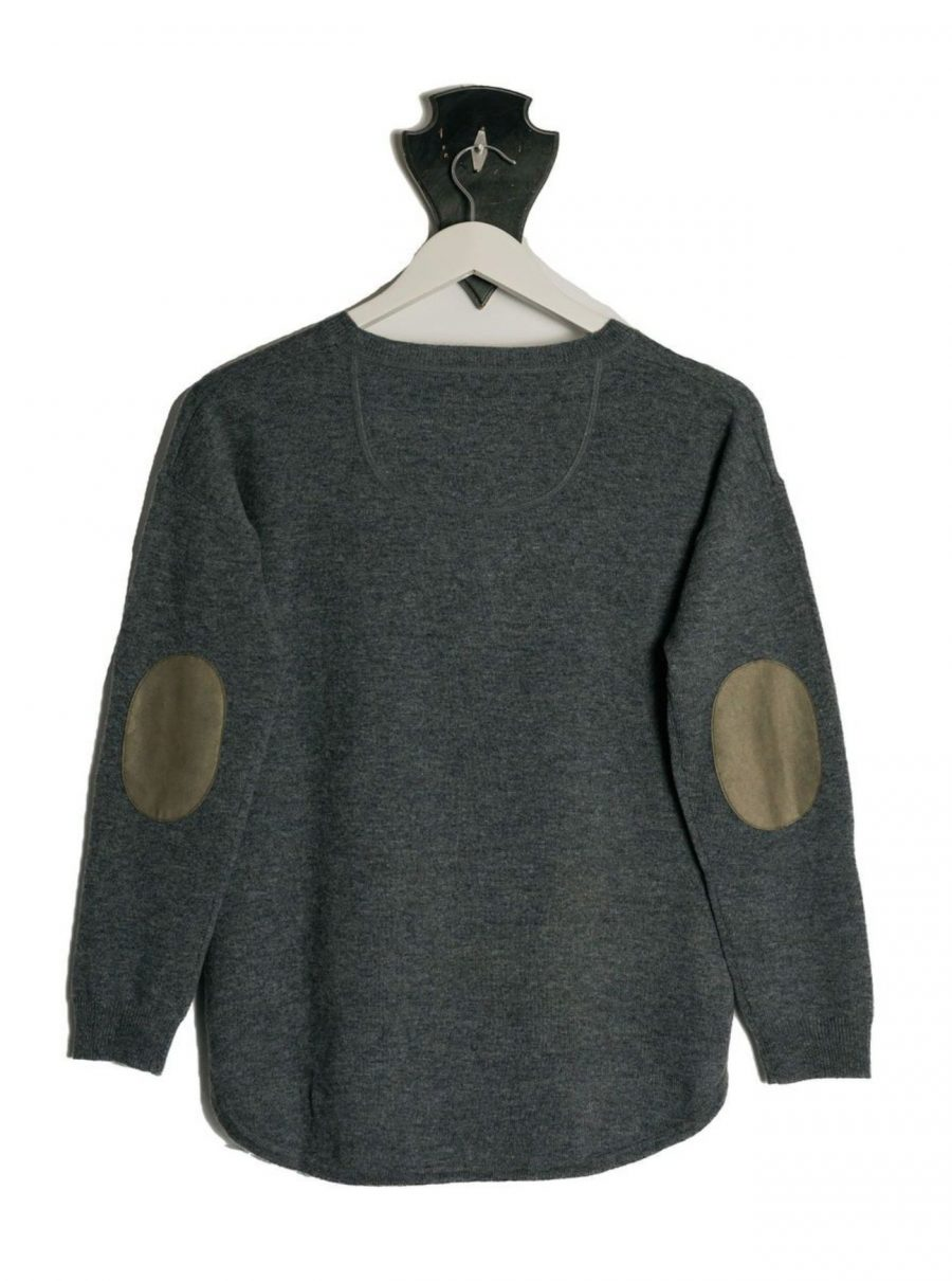 Bow and Arrow Merino and Cashmere Swing Jumper in Grey with brown stripe albow patches On hanger