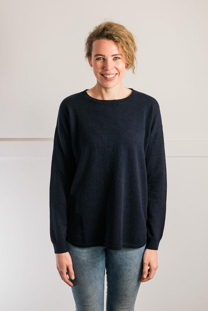 Bow and Arrow Merino and Cashmere Swing Jumper in Navy with blue and white stripe albow patches front view