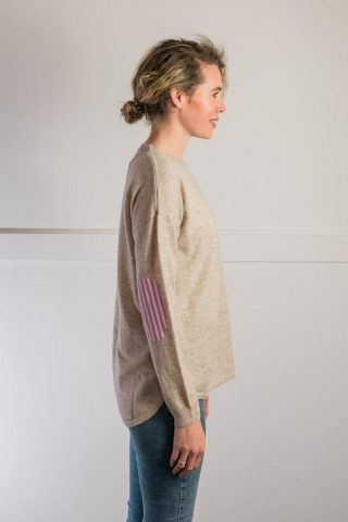 Bow and Arrow Merino and Cashmere Swing Jumper in Almond with pink stripe albow patches side view