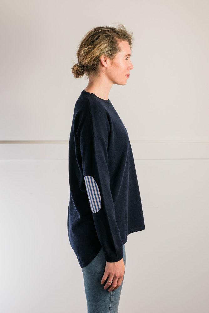 Bow and Arrow Merino and Cashmere Swing Jumper in Navy with blue and white stripe albow patches Side view
