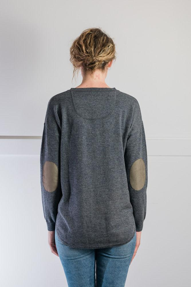 Bow and Arrow Merino and Cashmere Swing Jumper in Grey with brown stripe elbow patches Back view