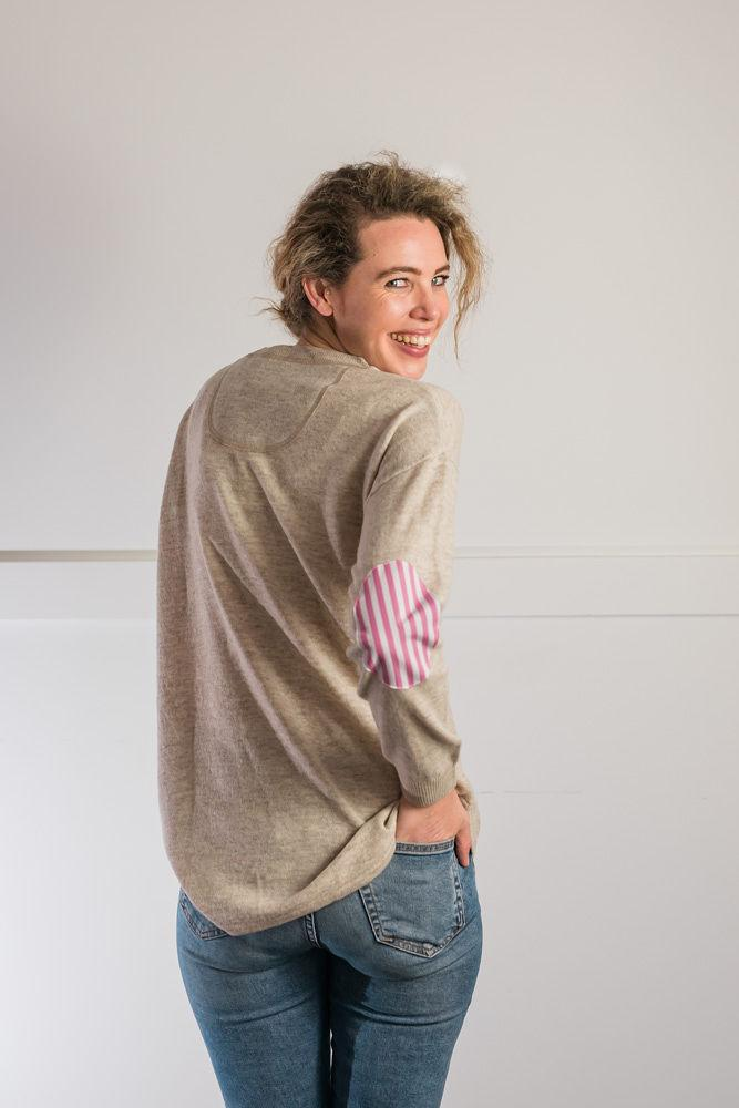 Bow and Arrow Merino and Cashmere Swing Jumper in Almond with pink stripe albow patches Back view