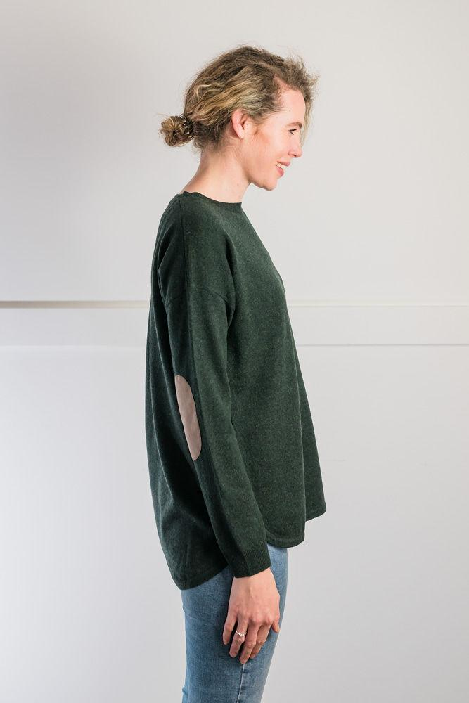 Bow and Arrow Merino and Cashmere Swing Jumper in Green with brown stripe albow patches Side view