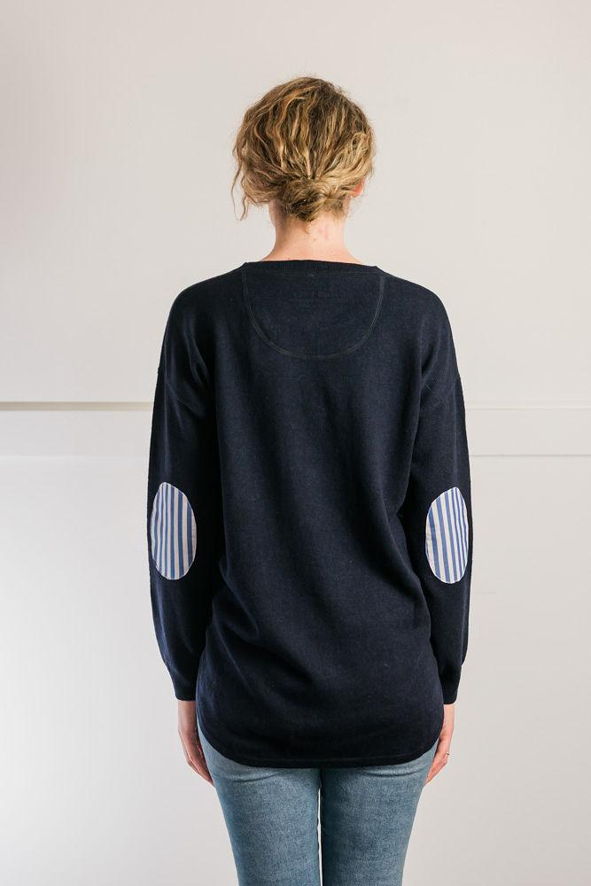 Bow and Arrow Merino and Cashmere Swing Jumper in Navy with blue and white stripe albow patches back view