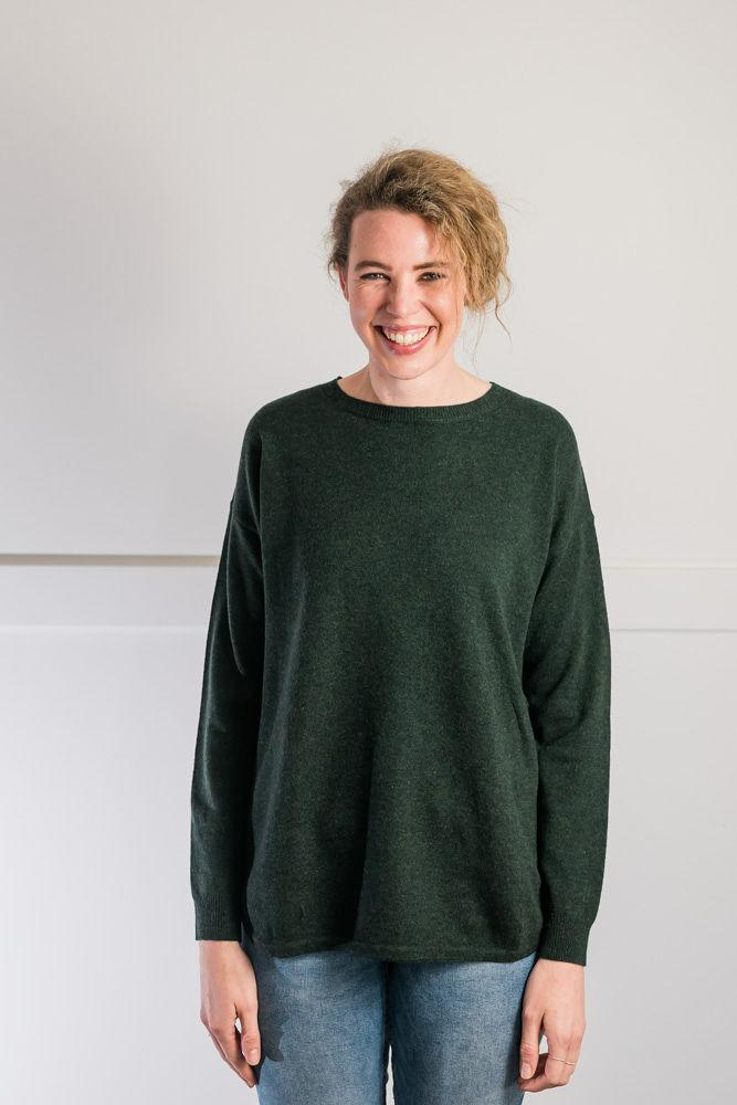 Bow and Arrow Merino and Cashmere Swing Jumper in Green with brown stripe albow patches Front view