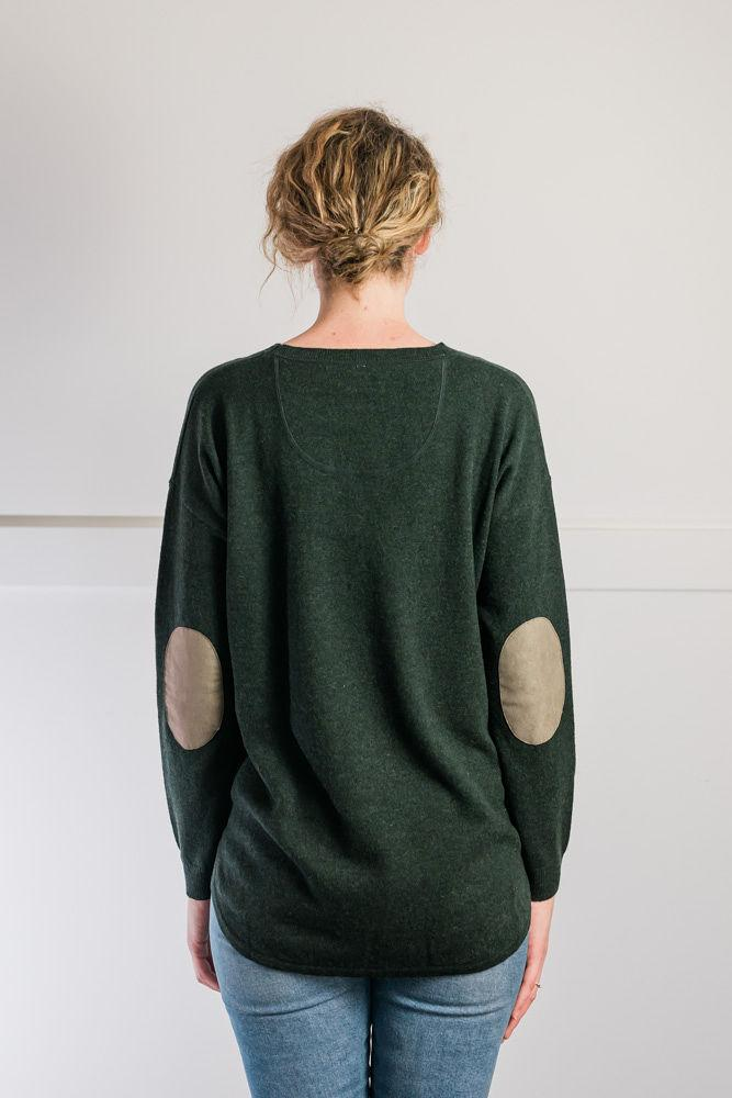 Bow and Arrow Merino and Cashmere Swing Jumper in Green with brown stripe albow patches Back view