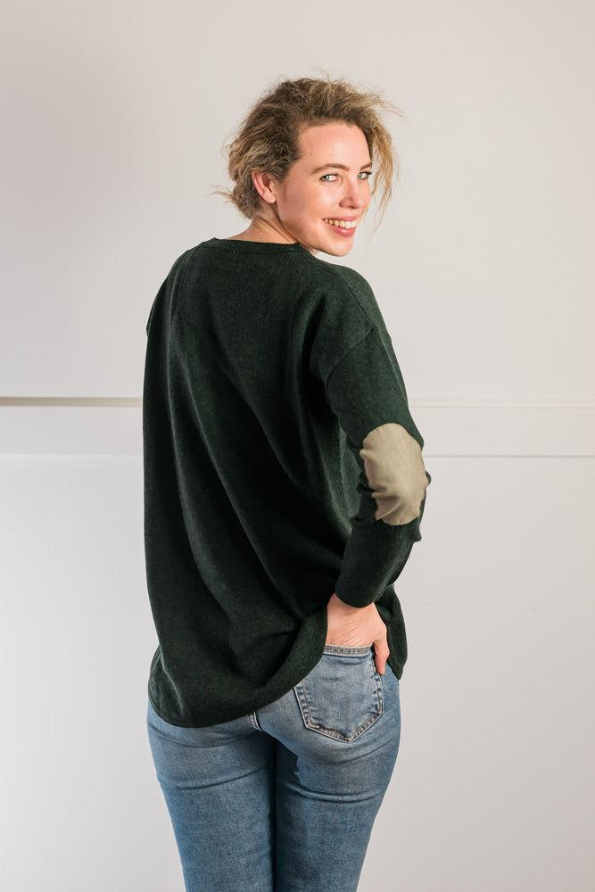 Bow and Arrow Merino and Cashmere Swing Jumper in Green with brown stripe albow patches
