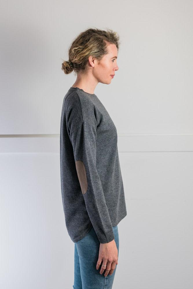 Bow and Arrow Merino and Cashmere Swing Jumper in Grey with brown stripe albow patches Side view