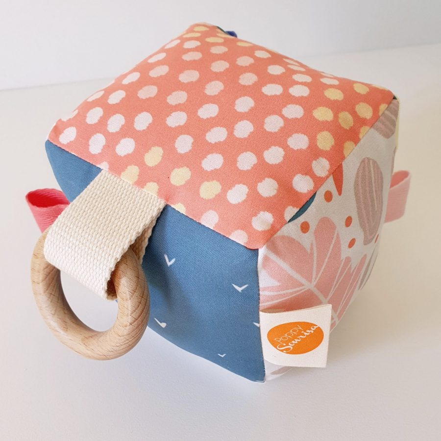 Handmade bright abstract fabric sensory cube for babies