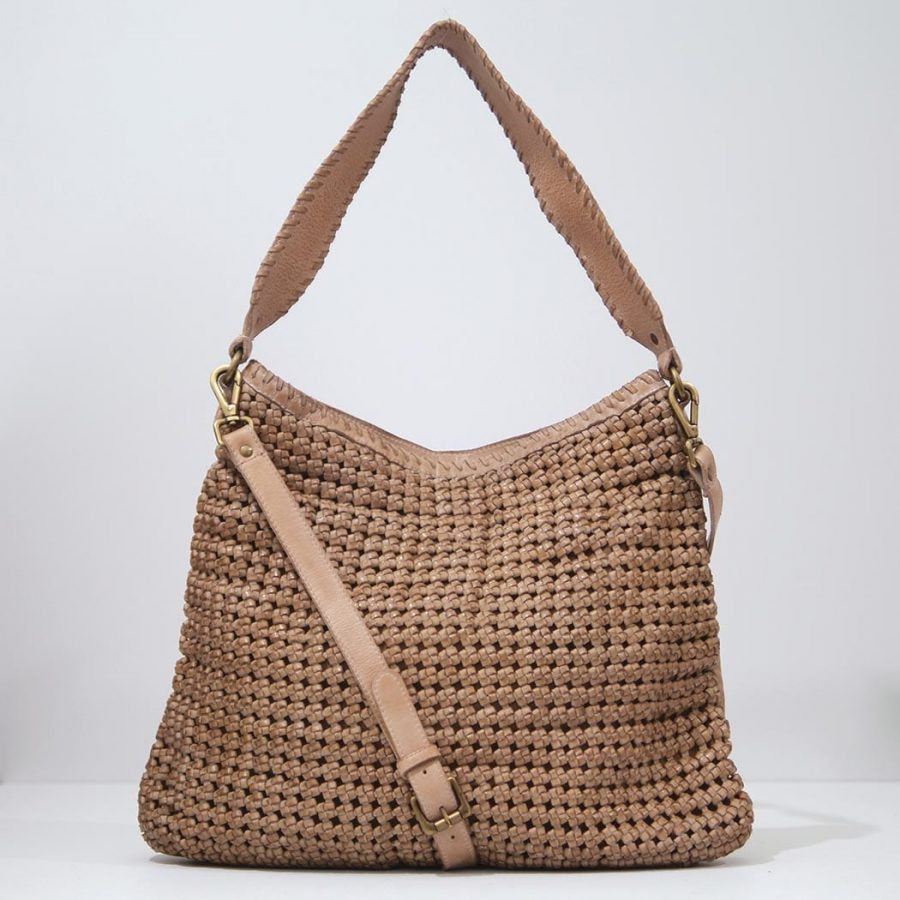 Rose & Lyle woven leather bag in Oyster, Hobo