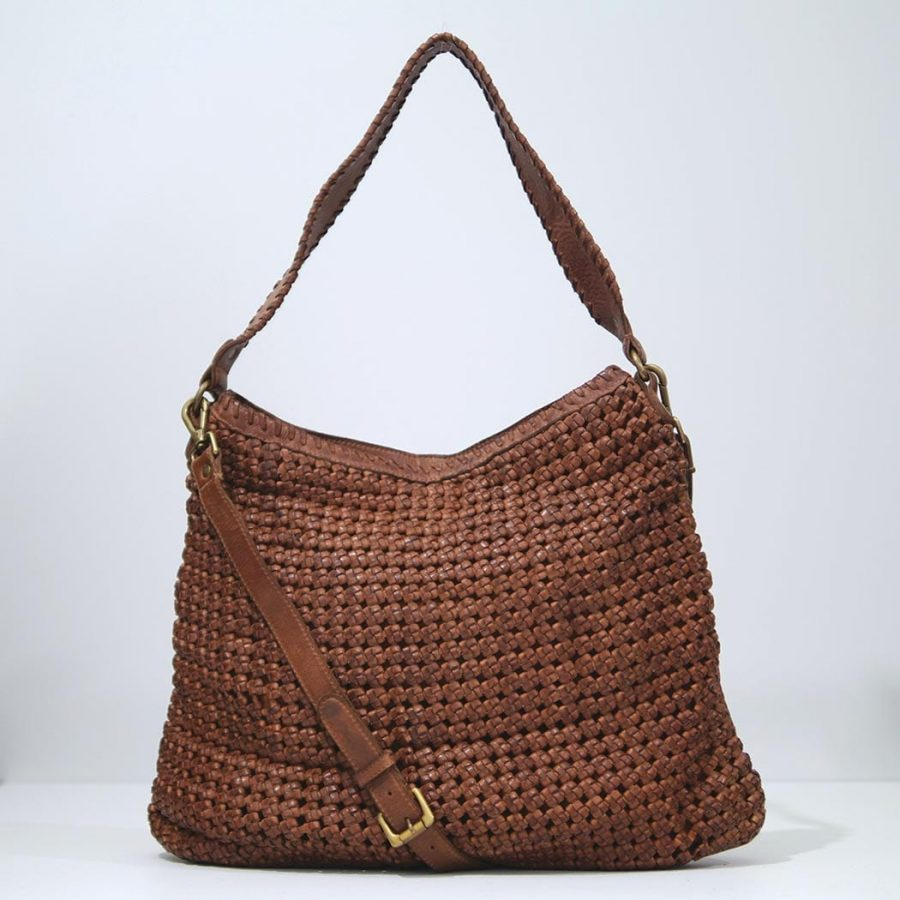 Rose & Lyle Woven leather bag, Hobo in tan