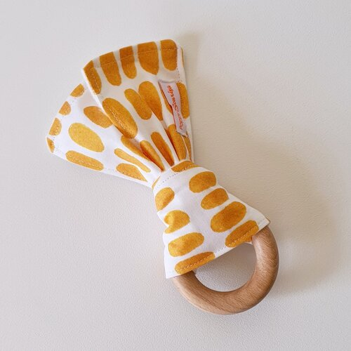 fabric and wood saffron ovals rattle