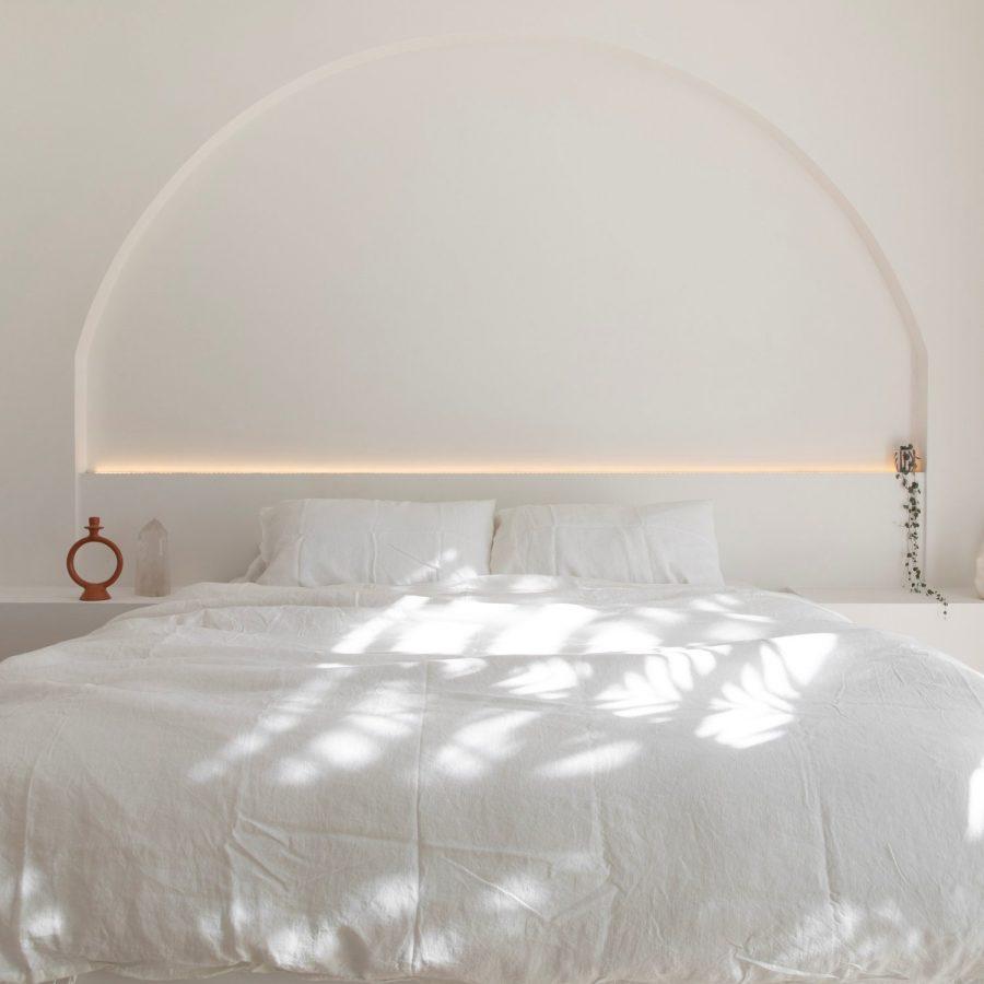 Moss living linen pillowcase set In sundae white