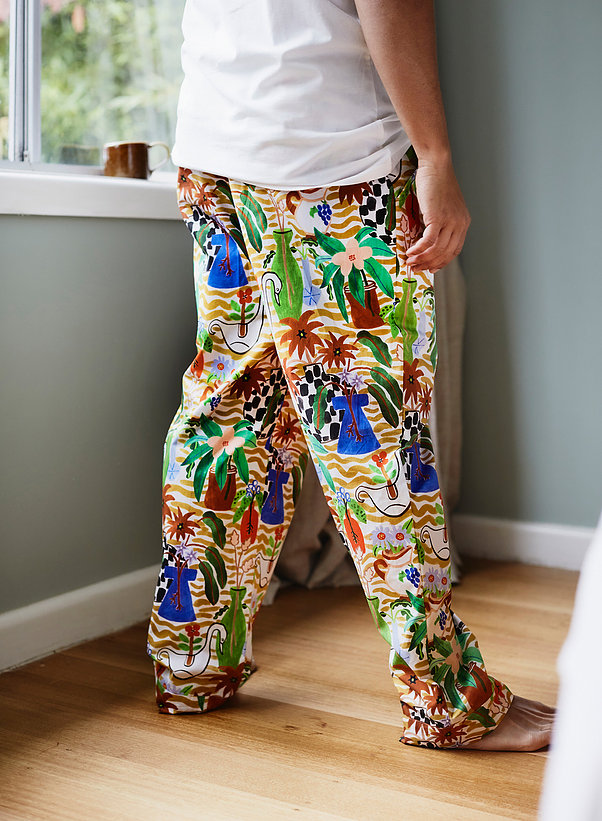 Togetherness Unisex cotton painted tropical pajama pants