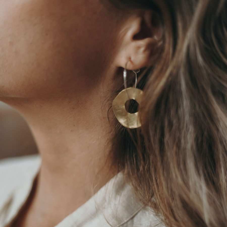 Ochre ceramics jewellery around the sun hoops In ear