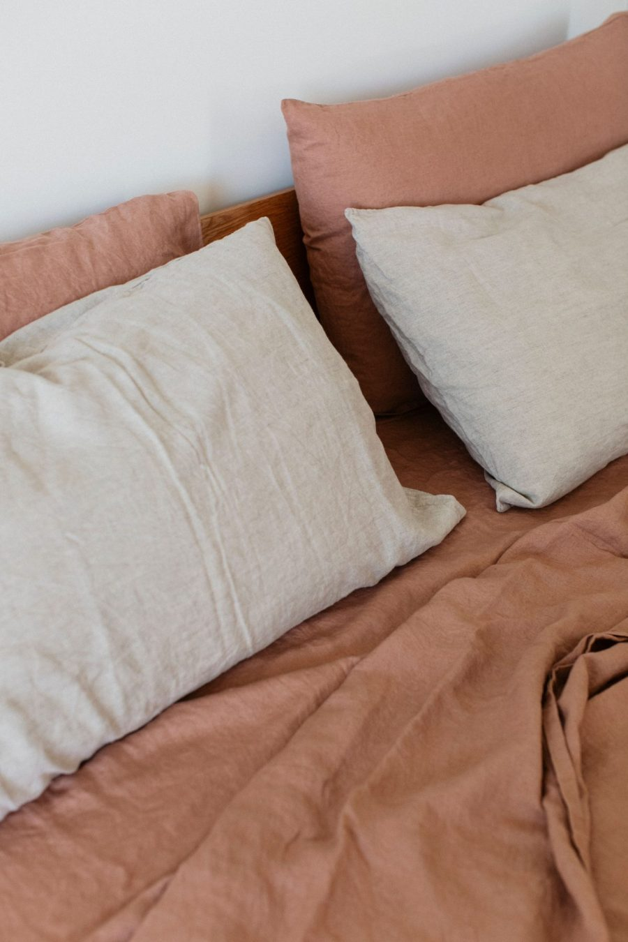 Moss living linen pillowcase set In natural on lotus sheets