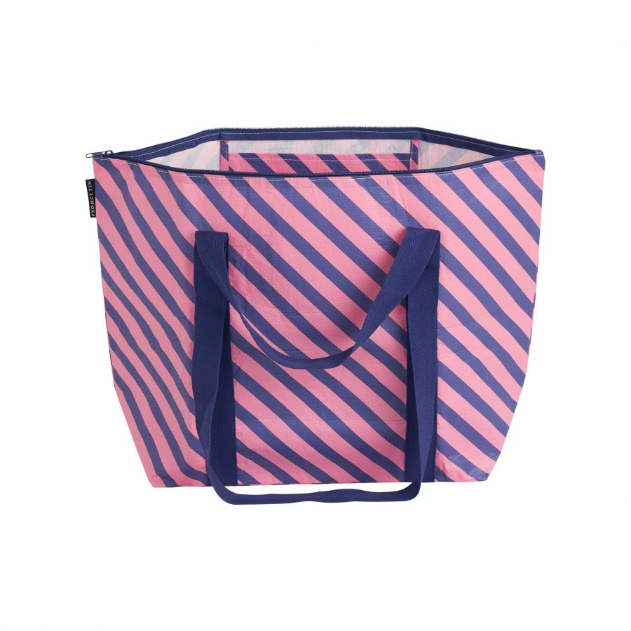 Project Ten zip shopper bag recycled plastic navy pink stripes