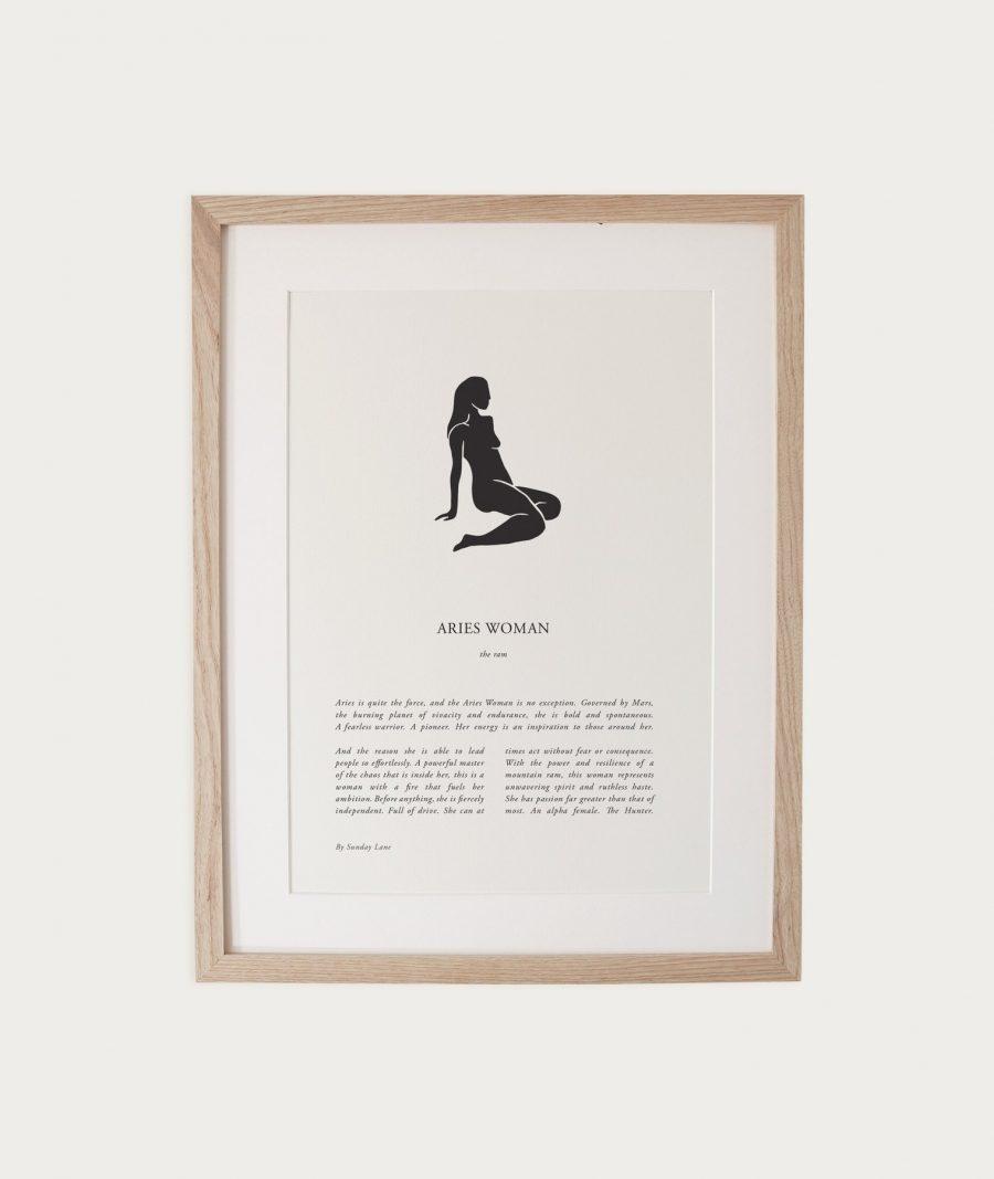 Aries Woman Zodiac Print