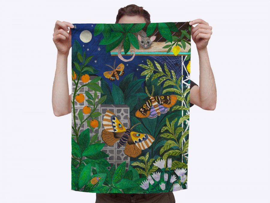 Hand painted Togetherness tea towel City at night with moths and possums