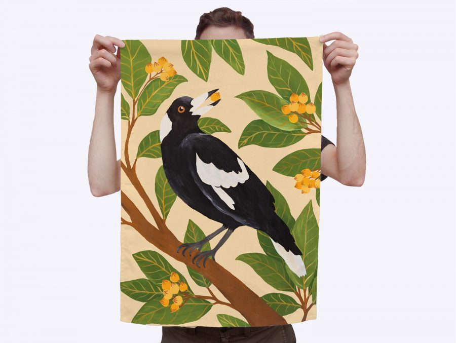 Hand painted Togetherness tea towel Magpie in tree