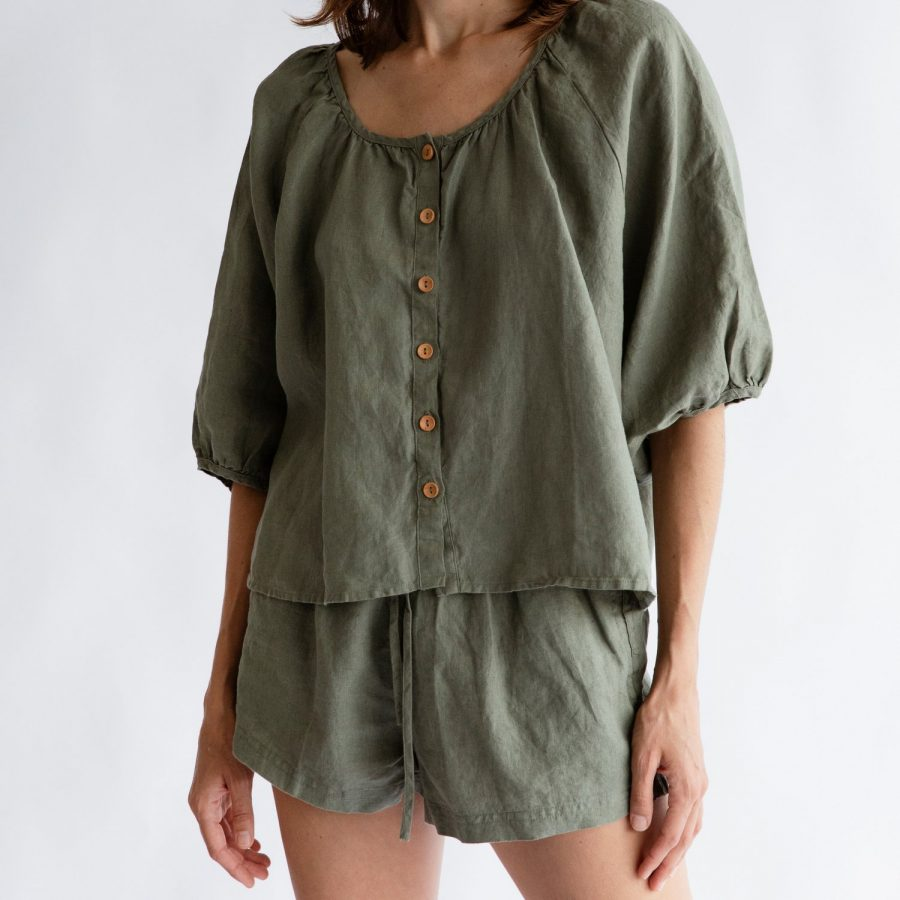 Moss living linen button up blouse