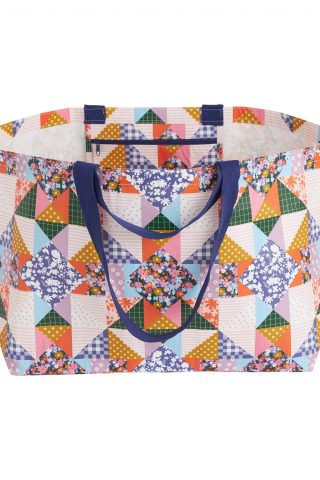 Oversized patchwork recycled plastic tote bag by Project Ten