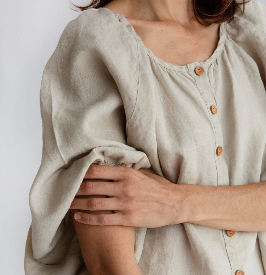 Moss living linen button up blouse Eggshell