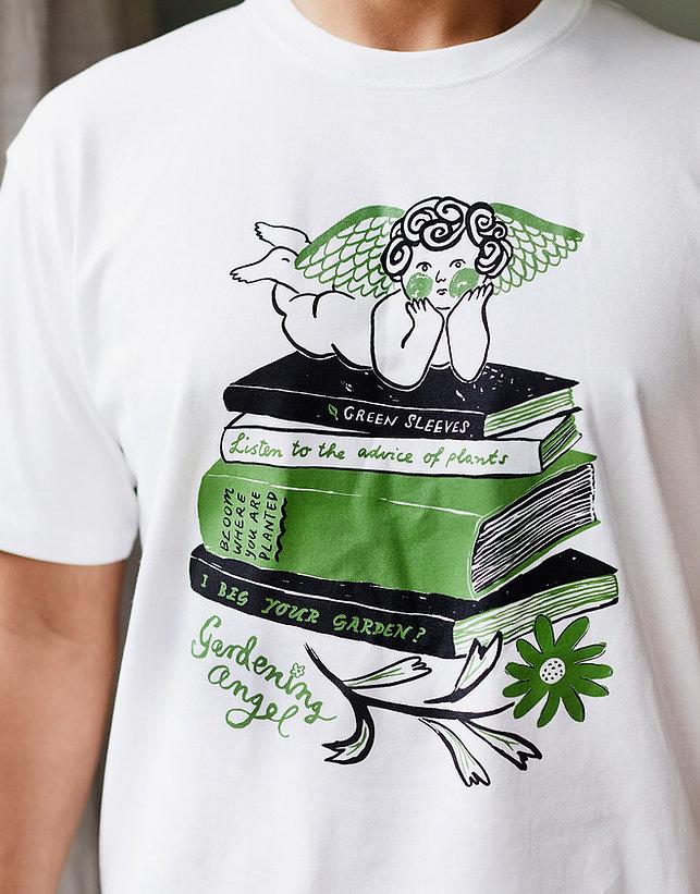 Togetherness gardening angel tshirt green black white