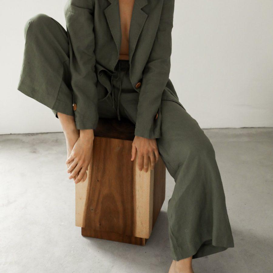 Moss Living flax linen pants