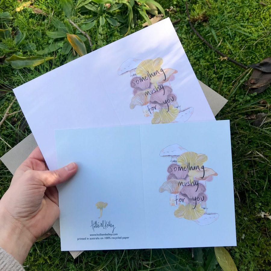 Something Mushy For You Edible Mushroom Card Hollie Kelley in hand