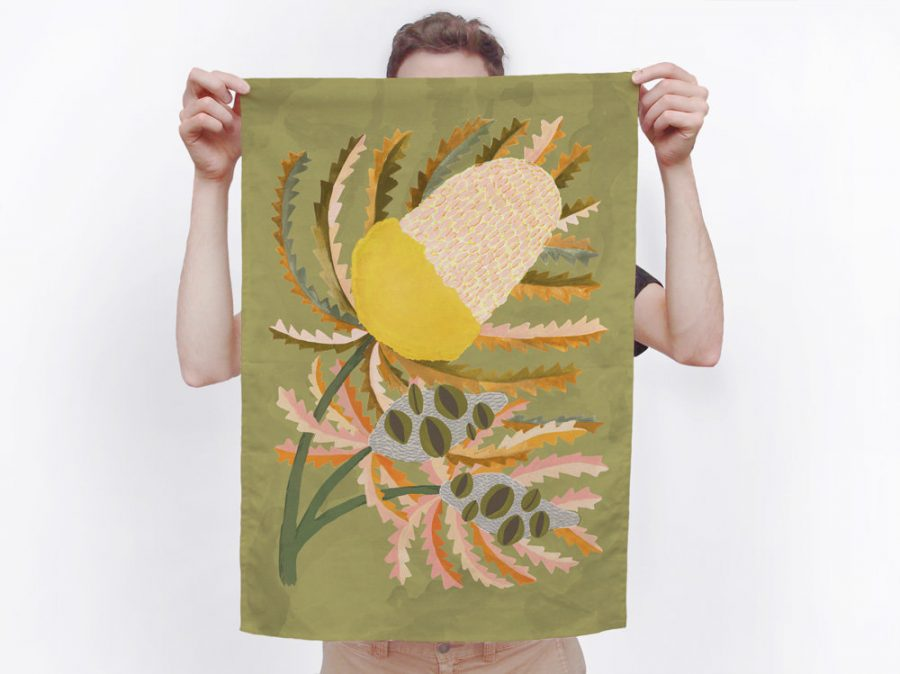 Hand painted Togetherness tea towel Eucalyptus green and banksia