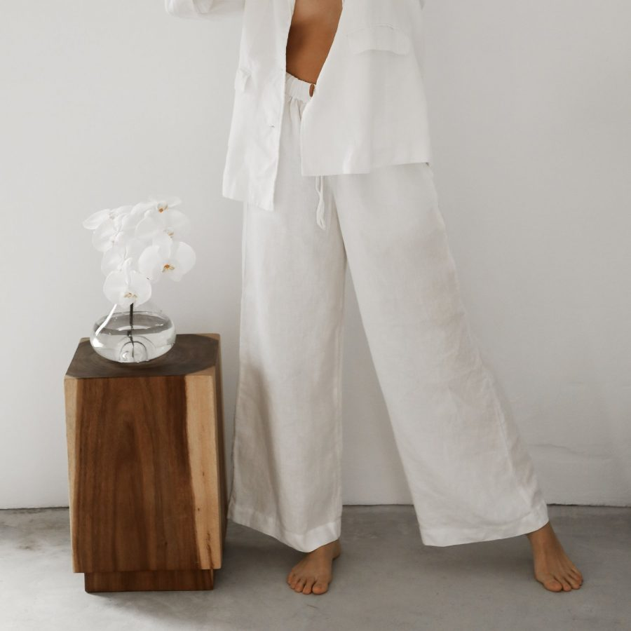 Moss Living flax linen pants white