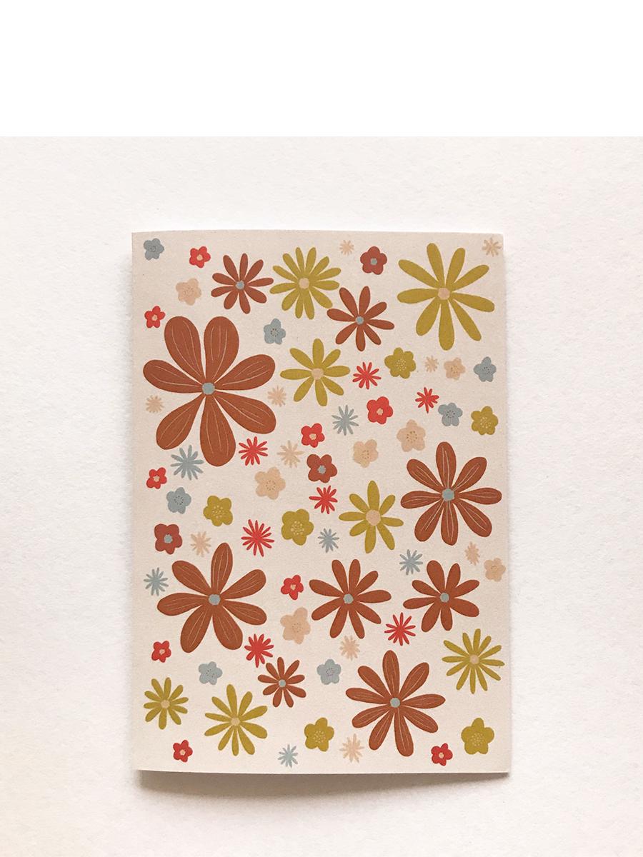 Beige Retro flowers greeting card hollie kelley