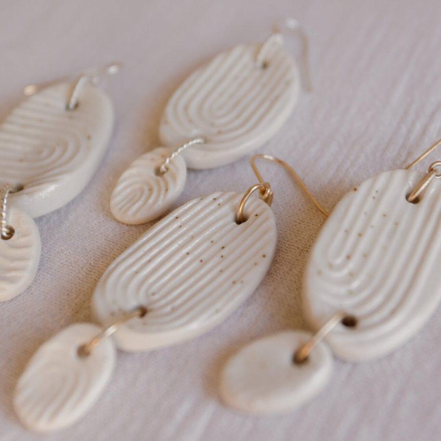 Ochre ceramics temple earrings