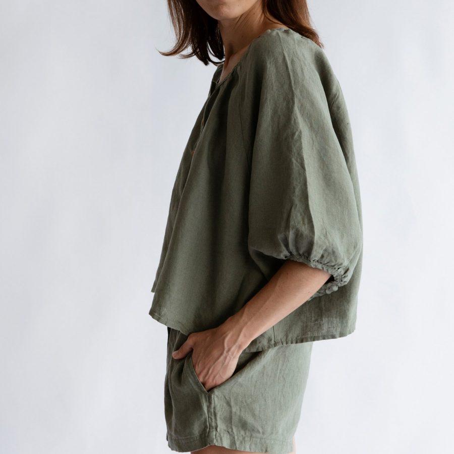 Moss living linen button up blouse Side view
