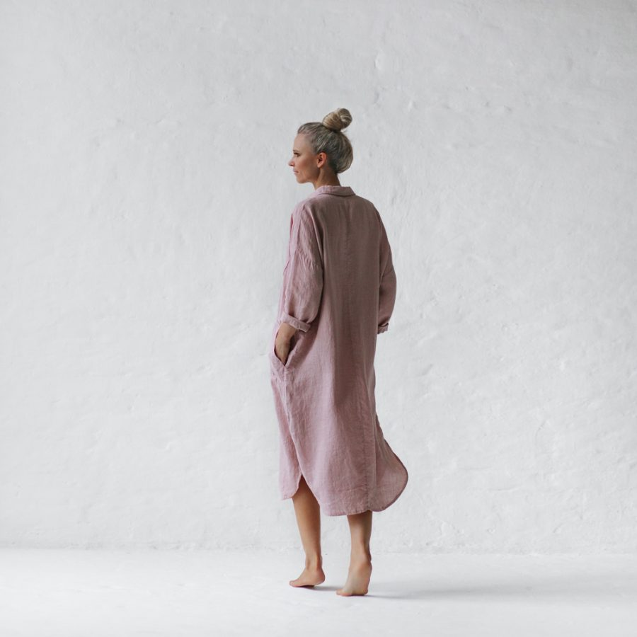 Seaside tones dusty pink linen shirt dress