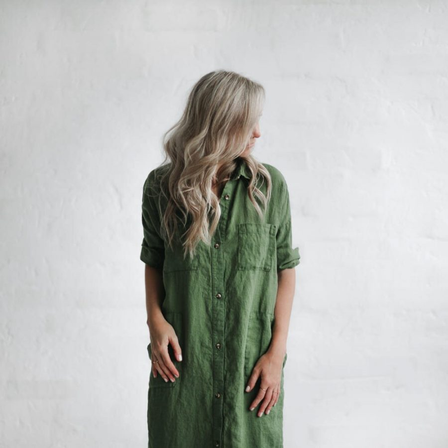 seaside tones maxi linen shirt dress