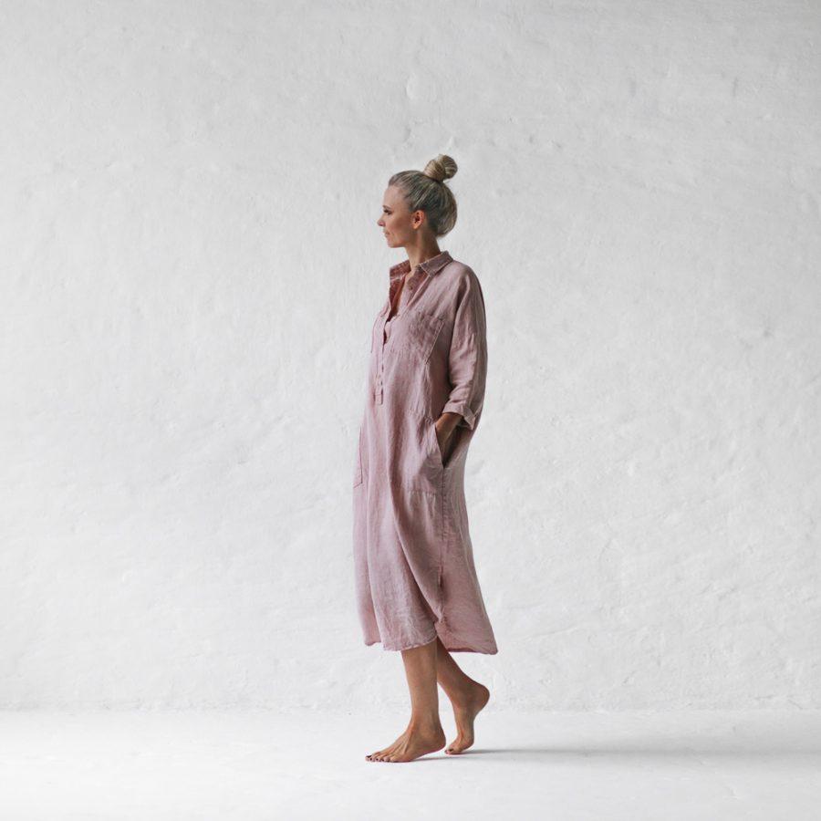 Seaside Tones dusty pink linen short dress